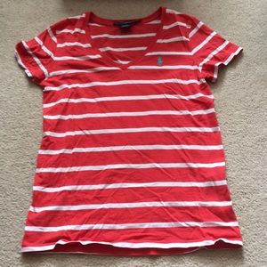Polo by Ralph Lauren Tops - Red and white striped v neck